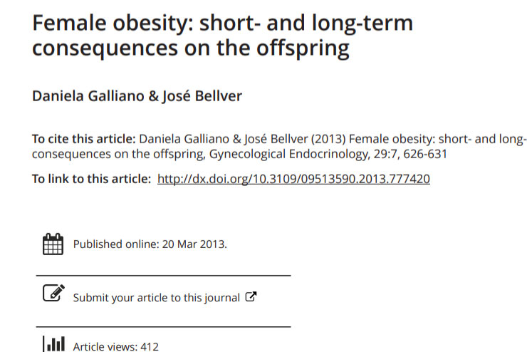 Female obesity: short- and long-term consequences on the offspring